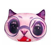 Мягкая игрушка-антистресс Кот глазастый, розовый