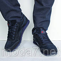 Мужские кроссовки Reebok Classik темно - синие, фото 2