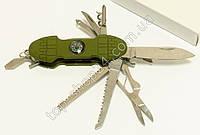 Швейцарский Многофункциональный складной нож мультитул +компас 11 в 1 армейский