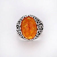 Кольцо с янтарем - тибетское серебро. Кольцо - янтарь.