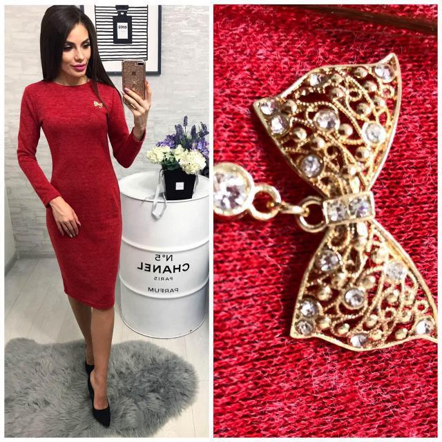 Платье вечернее с брошкой, модель 800, красный меланж