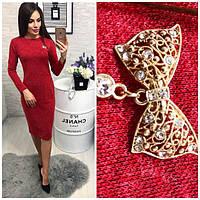 Платье вечернее с брошкой, модель 800, красный меланж, фото 1