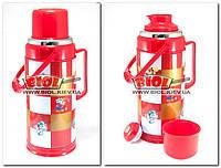 Термос 3,2л железный со стеклянной колбой (цвет - красный) Stenson 812-D-1, фото 1
