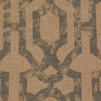 Бежево-голубая жаккардовая ткань для штор с орнаментом «решетка» (imperial trellis) GILBERT-7100-014