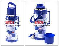 Термос 3,2л железный со стеклянной колбой (цвет - синий) Stenson 812-D-3