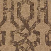 Серо-коричневая жаккардовая ткань для штор с орнаментом «решетка» (imperial trellis) GILBERT-7100-004