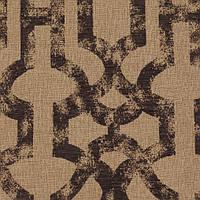 Бежевая жаккардовая ткань для штор с синим орнаментом «решетка» (imperial trellis) GILBERT-7100-007