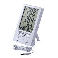 Термометр гигрометр TA298 с часами и выносным датчиком, фото 1
