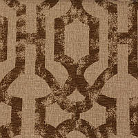 Коричневая жаккардовая ткань для штор с орнаментом «решетка» (imperial trellis) GILBERT-7100-016