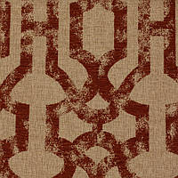 Терракотовая жаккардовая ткань для штор с орнаментом «решетка» (imperial trellis) GILBERT-7100-006