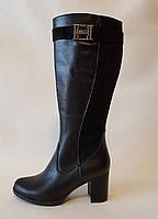 Сапоги женские на каблуке натуральная кожа, замш