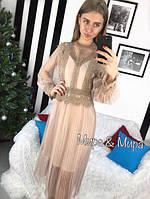 Женское изысканное платье с кружевом и сеткой (3 цвета)