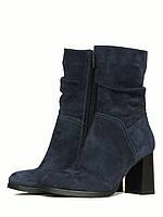 Синие ботинки на каблуке, фото 1