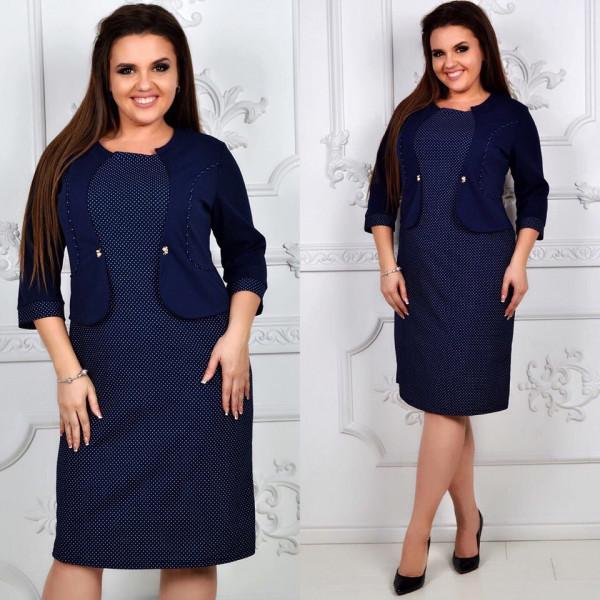 d71935ea71e Офисное платье батал с имитацией пиджака (2 цвета)  продажа