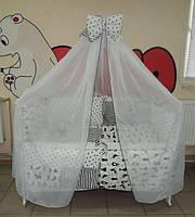 Полный комплект для сна младенца с кроваткой ! 17 предметов! Кроватка с маятником, постельное Bonna Present