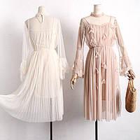 Женское стильное платье с кружевом и цветочками (2 цвета)