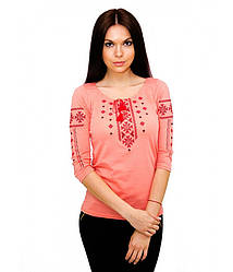 Жіноча футболка з вишивкою,в оранжевому кольорі