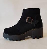 Ботинки женские на платформе натуральная кожа, замш