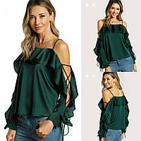 Блуза  шелк однотонная с оборками