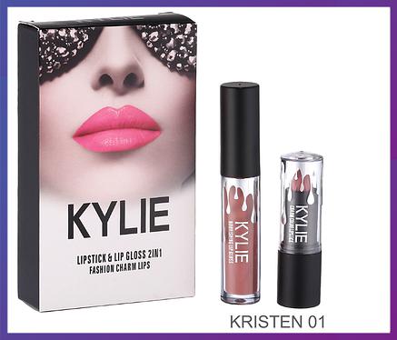Набор помада + блеск Kylie Jenner Lipstick Lip Gloss 2 in 1 Kristen, фото 2