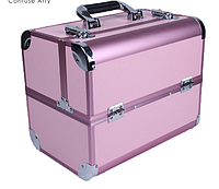 """Чемодан для визажиста алюминиевый """"Matte Series"""",св.розовый с розовым ободком , фото 1"""