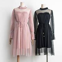Женское красивое платье декорировано камнями и бисером (3 цвета)