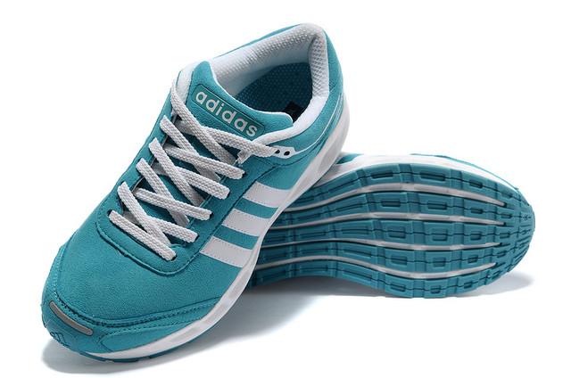 Adidas Running Shoes Blue White Aqua Cc. Solution Women