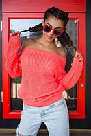 Женский вязаный свитер из хлопка с полуоткрытой спиной, в расцветках