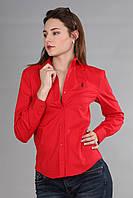 Женская рубашка с длинным рукавом (реплика) Polo ralph lauren красного цвета