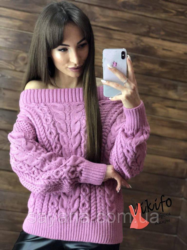 Женский свитер с высокой круглой кокеткой, в расцветках