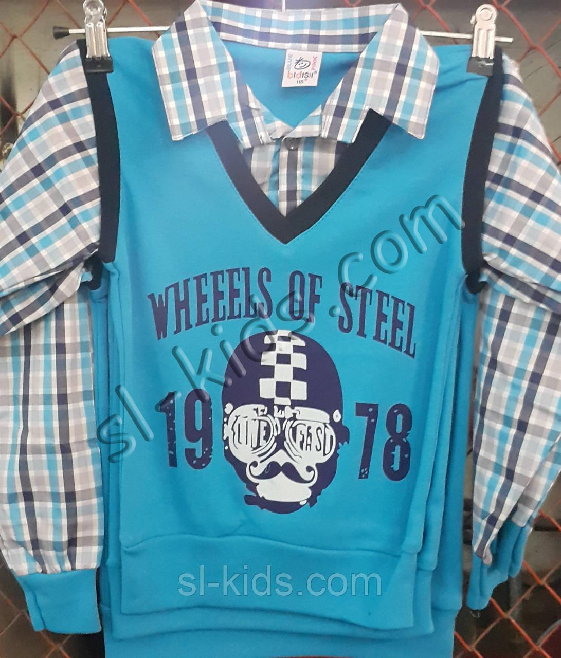 Рубашка-обманка для мальчика 4-6 лет(рисунок) (пр. Турция)