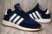 Adidas iniki runner кроссовки для бега синие текстиль и натуральный замш