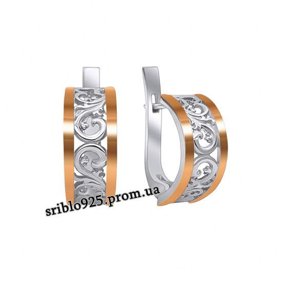 Серьги из серебра с цирконием