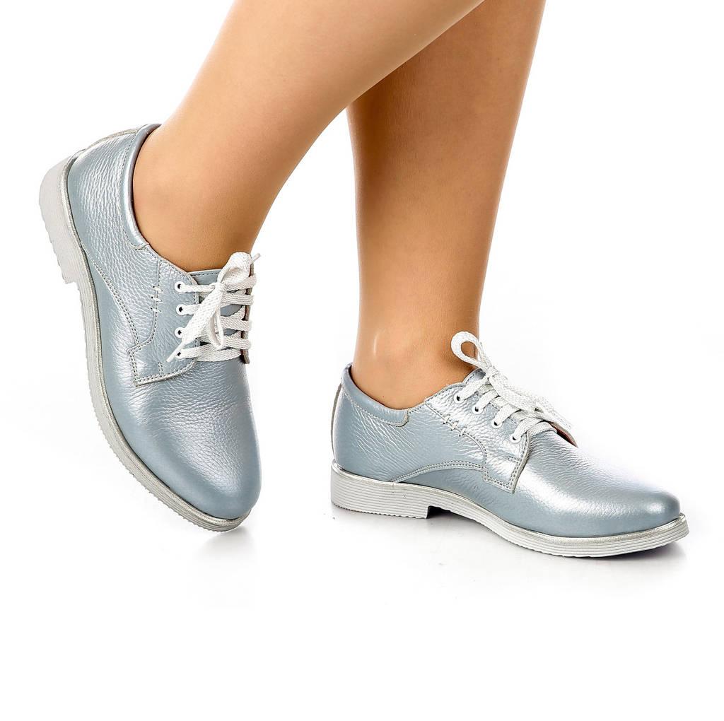 Туфли женские кожаные на низком каблуке и шнуровке бирюзовые