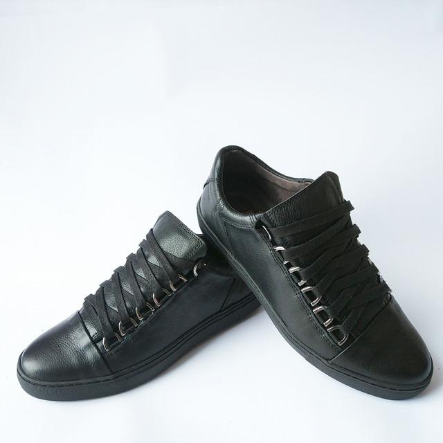 Кожаная Detta обувь черного цвета ортопедические кеды на шнуровке с прошитой подошвой