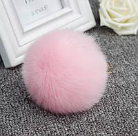 Меховой шарик брелок на рюкзак Розовый