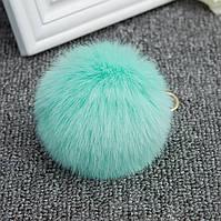 Меховой шарик брелок на рюкзак Бирюзовый