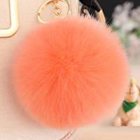 Меховой шарик брелок на рюкзак Оранжевый
