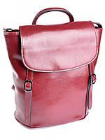 Кожаная сумка рюкзак 8158 красная, фото 1