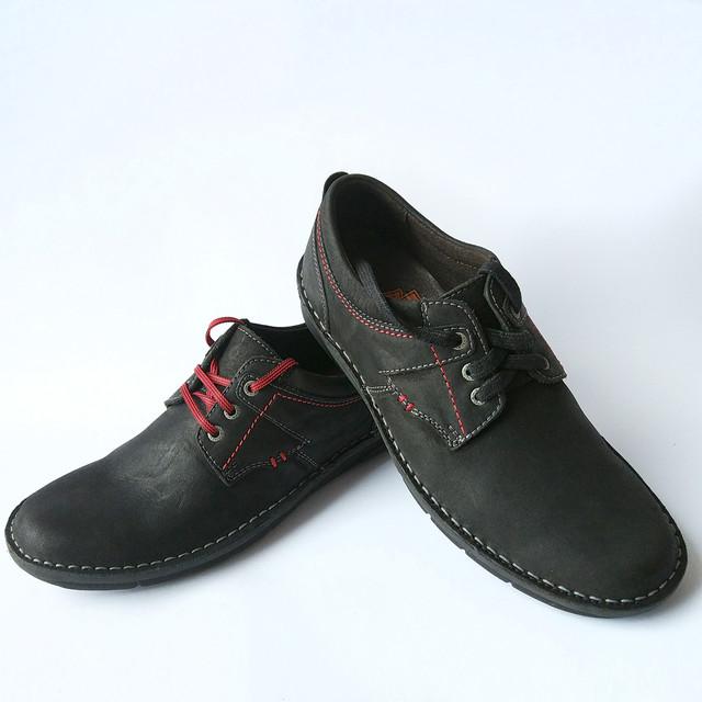 Мужская обувь Detta черного цвета мокасины из нубука на шнуровке ортопедические