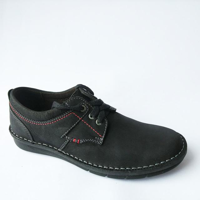 Мужская обувь Detta на шнуровке ортопедические черного цвета мокасины из нубука
