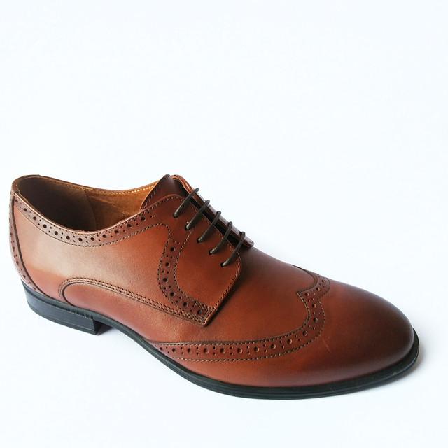 Кожаная обувь Ikos броги коричневого цвета с перфорацией