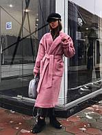 Розовое шерстяное пальто на запах