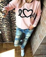 Женский свитшот батник двухнить LOVE 42 44 46 Женские свитера, свитшот оптом розница недорого теплые