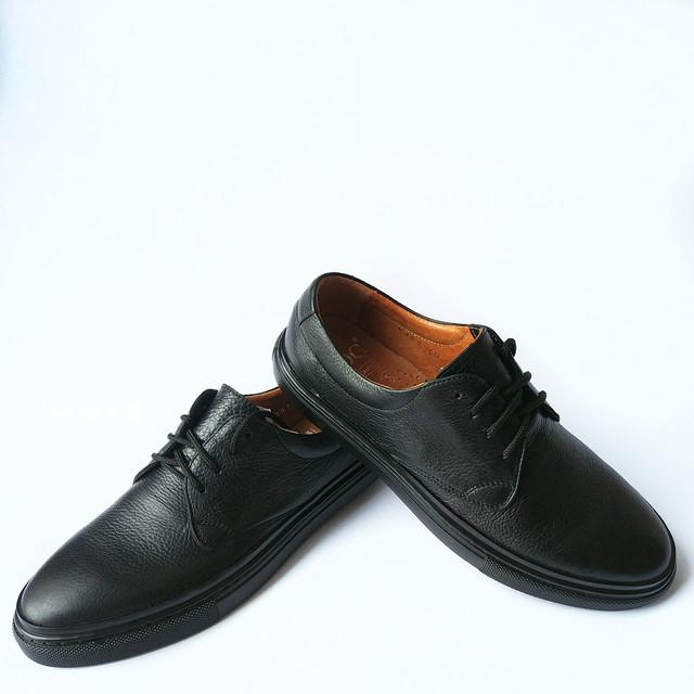 Мужская обувь икос кожаные мокасины черного цвета на шнуровке Ikos Луцк