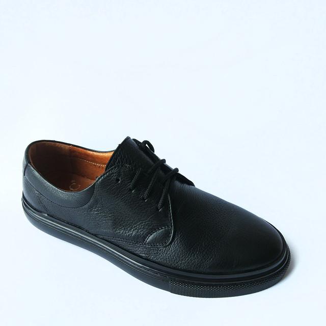 Мужская обувь икос кожаные мокасины на шнуровке черного цвета Ikos Луцк