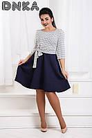Женское платье батал, фукра стрейчевая, р-р 50; 52; 54; 56 (тёмно-синий)