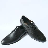 Кожаная обувь Икос : черные туфли на шнуровке с перфорацией