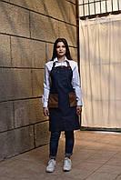 Фартук джинсовый с кожаными карманами, униформа для официантов и барменов, индивидуальный пошив, все размеры