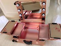 Профессиональная мобильная студия для визажиста с освещением и розеткой, светло розовая
